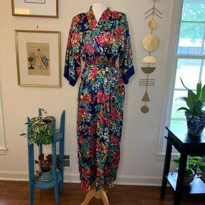 Vintage silky floral slip and robe set